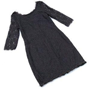 Lapis Lace Dress Raw Hem Zip Back Women's L